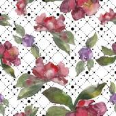 Fényképek Vörös és lila camellia virág. Akvarell illusztráció készlet. Varratmentes háttérben minta. Anyagot a nyomtatási textúrát