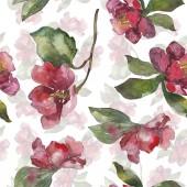 Květiny kamélie červená a fialová. Sada akvarel ilustrace. Vzor bezešvé pozadí. Fabric tapety tisku textura.