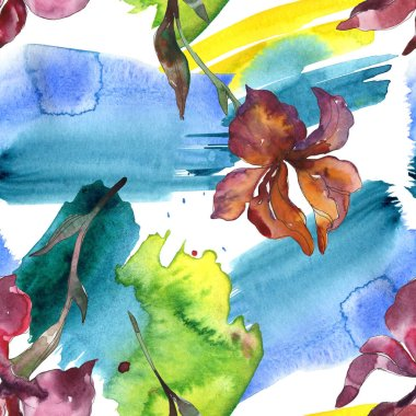 Purplr ahd red irises flower. Wild spring leaf wildflower. Watercolor illustration set. Watercolour drawing fashion aquarelle isolated. Seamless background pattern. Fabric wallpaper print texture. stock vector