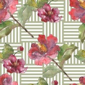 Red peonies watercolor illustration set. Seamless background pattern. Fabric wallpaper print texture.