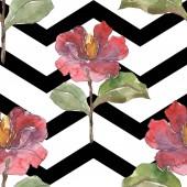 Fotografia Illustrazione dellacquerello di peonie rosse insieme. Reticolo senza giunte della priorità bassa. Stampa tessuto per tappezzeria.