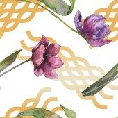 Purple tulip floral botanical flowers. Wild spring leaf isolated. Watercolor illustration set. Watercolour drawing fashion aquarelle. Seamless background pattern. Fabric wallpaper print texture.