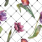 Fényképek Lila tulipán virág botanikai virág. Vad tavaszi levél elszigetelt. Akvarell illusztráció készlet. Akvarell rajz divat aquarelle. Varratmentes háttérben minta. Anyagot a nyomtatási textúrát