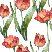 Isolated tulips with green leaves seamless background pattern. Fabric wallpaper print texture. Watercolor illustration set.