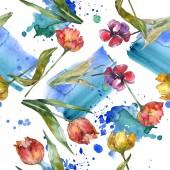 Fotografie Tulipány se zelenými listy a abstraktní vzor bezešvé pozadí. Fabric tapety tisku texturu. Sada akvarel ilustrace