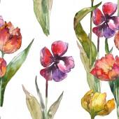 Tulipani isolati con verde lascia il reticolo senza cuciture. Struttura di stampa carta da parati di tessuto. Insieme dellillustrazione dellacquerello