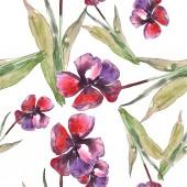 Elszigetelt tulipán zöld levelek varratmentes háttérben mintával. Szövet nyomtatási textúrát. Akvarell illusztráció készlet.