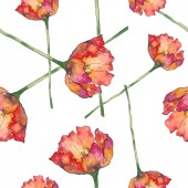 Izolované tulipány s vzor bezešvé pozadí zelených listů. Fabric tapety tisku texturu. Sada akvarel ilustrace