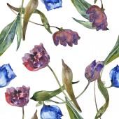 Fotografia Insieme dellillustrazione dellacquerello di tulipani viola e blu. Reticolo senza giunte della priorità bassa. Stampa tessuto per tappezzeria