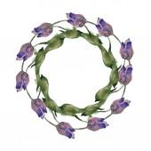 Fotografie Tulipány fialové a modré sada akvarel zázemí ilustrace. Frame hranice ornament se kopie prostoru
