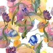 Fotografie Tulipány fialové a modré sada akvarel ilustrace. Vzor bezešvé pozadí. Fabric tapety tisku textura