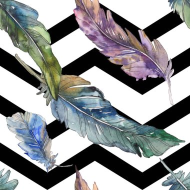 Bird feather from wing isolated. Watercolor background illustration set. Watercolour drawing fashion aquarelle isolated. Seamless background pattern. Fabric wallpaper print texture. stock vector