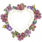 Květiny kamélie červená a fialová. Sada akvarel pozadí obrázku. Frame hranice ornament se kopie prostoru