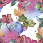 Květiny kamélie červená a fialová. Sada akvarel ilustrace. Vzor bezešvé pozadí. Fabric tapety tisku textura