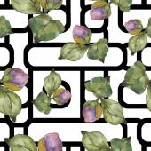 Vörös és lila camellia virág. Akvarell illusztráció készlet. Varratmentes háttérben minta. Anyagot a nyomtatási textúrát.
