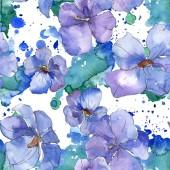 Modré fialové lněné květinové botanické květina. Divoký jarní listové izolované. Sada akvarel ilustrace. Akvarel výkresu módní aquarelle. Vzor bezešvé pozadí. Fabric tapety tisku textura.