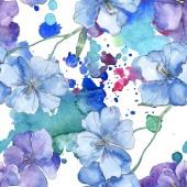 Kék lila len floral botanikus virág. Vad tavaszi levél elszigetelt. Akvarell illusztráció készlet. Akvarell rajz divat aquarelle. Varratmentes háttérben minta. Anyagot a nyomtatási textúrát.
