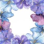 Modrá fialová len. Květinové botanické květin. Divoký jarní listové wildflower izolován. Sada akvarel pozadí obrázku. Akvarel, samostatný výkresu módní aquarelle. Frame hranice ozdoba náměstí.