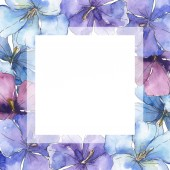 Photo Blue purple flax. Floral botanical flower. Wild spring leaf wildflower isolated. Watercolor background illustration set. Watercolour drawing fashion aquarelle isolated. Frame border ornament square.