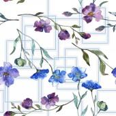 Fotografie Modré fialové lněné květinové botanické květina. Divoký jarní listové izolované. Sada akvarel ilustrace. Akvarel výkresu módní aquarelle. Vzor bezešvé pozadí. Fabric tapety tisku textura
