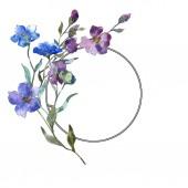 Kék lila len floral botanikus virág. Vad tavaszi levél vadvirág elszigetelt. Akvarell háttér illusztráció készlet. Akvarell rajz divat aquarelle elszigetelt. Test határ Dísz tér.
