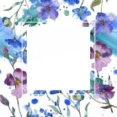 Fotografie Blau lila floral botanische Flachsblume. Wilde Frühling Blatt Wildblumen isoliert. Aquarell Hintergrund Illustration-Set. Aquarell Zeichnung Mode Aquarell isoliert. Frame Border Ornament Quadrat.
