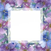 Blue and purple flax floral botanical flower. Wild spring leaf wildflower isolated. Watercolor background illustration set. Watercolour drawing fashion aquarelle. Frame border ornament square.