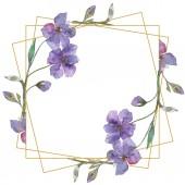 Modré a fialové lnu květinové botanické květin. Divoký jarní listové wildflower izolován. Sada akvarel pozadí obrázku. Akvarel výkresu módní aquarelle. Frame hranice ozdoba náměstí.