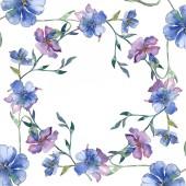 Kék és lila len virágos botanikai virág. Vad tavaszi levél vadvirág elszigetelt. Akvarell háttér illusztráció készlet. Akvarell rajz divat aquarelle. Test határ Dísz tér.