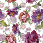 Purple peonies watercolor illustration set. Seamless background pattern. Fabric wallpaper print texture.