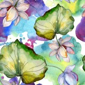 Fotografie Blue and purple lotuses with leaves. Watercolor illustration set. Seamless background pattern. Fabric wallpaper print texture.