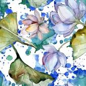 Fotografie Modré a fialové lotosů s listy. Sada akvarel ilustrace. Vzor bezešvé pozadí. Fabric tapety tisku textura