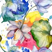 Modré a fialové lotosů s listy. Sada akvarel ilustrace. Vzor bezešvé pozadí. Fabric tapety tisku textura.