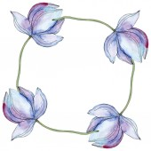 Blue lotuses. Watercolor background illustration set. Frame border ornament with copy space.