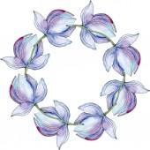 Modrá lotosů. Sada akvarel pozadí obrázku. Frame hranice ornament se kopie prostoru.