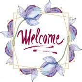 blaue und violette Lotusblüten. Aquarell Hintergrundillustration Set. Rahmen Bordüre mit Inschrift.