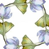 blaue Lotusblüten. Aquarell Hintergrundillustration Set. Rahmen-Bordüre mit Kopierraum.