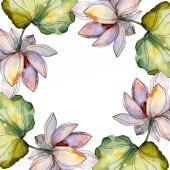 blaue und violette Lotusblüten. Aquarell Hintergrundillustration Set. Rahmen-Bordüre mit Kopierraum.