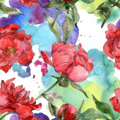 Photo Red peonies watercolor illustration set. Seamless background pattern. Fabric wallpaper print texture.