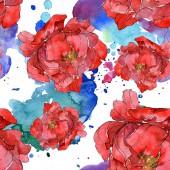 Fényképek Állítsa be a piros pünkösdi rózsa akvarell illusztráció. Varratmentes háttérben minta. Anyagot a nyomtatási textúrát