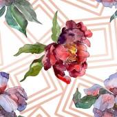 Fotografie Červené a fialové pivoňky. Sada akvarel ilustrace. Vzor bezešvé pozadí. Fabric tapety tisku textura