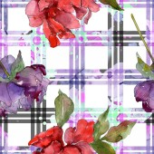 Red and purple peonies. Watercolor illustration set. Seamless background pattern. Fabric wallpaper print texture.
