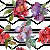 Fotografia Peonie rosse e viola. Insieme dellillustrazione dellacquerello. Reticolo senza giunte della priorità bassa. Stampa tessuto per tappezzeria.