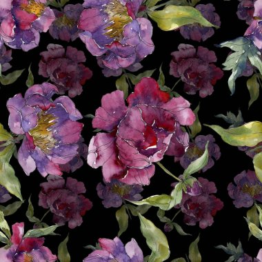 Purple peonies watercolor illustration set. Seamless background pattern. Fabric wallpaper print texture. stock vector