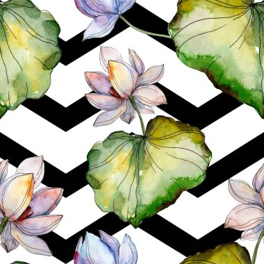 Blue and purple lotuses with leaves. Watercolor illustration set. Seamless background pattern. Fabric wallpaper print texture.