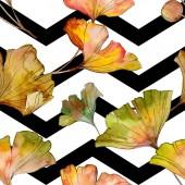 Fotografie Zelená žlutá ginkgo biloba list rostlin botanické listy. Sada akvarel ilustrace. Akvarel, samostatný výkresu módní aquarelle. Vzor bezešvé pozadí. Fabric tapety tisku textura