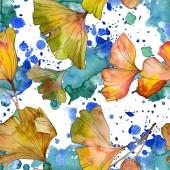 Zöld sárga ginkgo biloba levél növény botanikai lombozat. Akvarell illusztráció készlet. Akvarell rajz divat aquarelle elszigetelt. Varratmentes háttérben minta. Anyagot a nyomtatási textúrát.