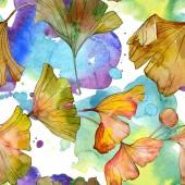 Fotografie Green yellow ginkgo biloba leaf plant botanical foliage. Watercolor illustration set. Watercolour drawing fashion aquarelle isolated. Seamless background pattern. Fabric wallpaper print texture.