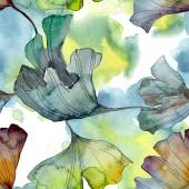 Fotografie Ginkgo biloba leaf plant botanical garden floral foliage. Watercolor illustration set. Watercolour drawing fashion aquarelle isolated. Seamless background pattern. Fabric wallpaper print texture.
