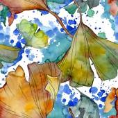 Ginkgo biloba list rostliny Botanická zahrada květinové listy. Sada akvarel ilustrace. Akvarel, samostatný výkresu módní aquarelle. Vzor bezešvé pozadí. Fabric tapety tisku textura